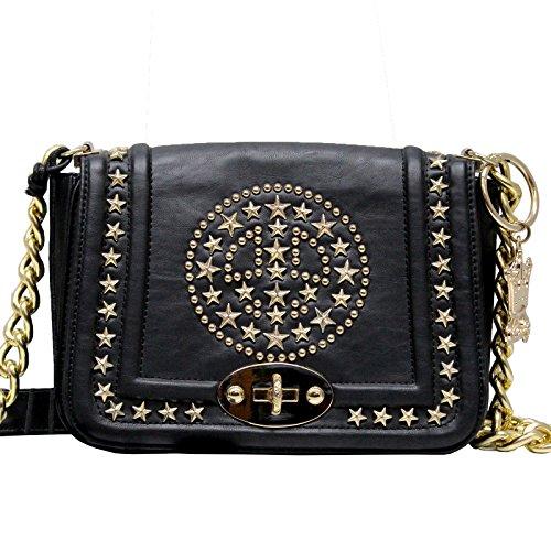 Mia Bag borsa in pelle nera con tracolla catenina e dettagli oro Art. 13507