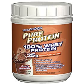 Pure Protein 100% Whey Powder Frosty Chocolate  1 pound tub