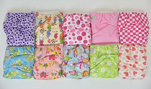 10 Pack Pocket Cloth Diapers with 20 Inserts (2 Inserts Per Diaper)-girl Pack 1