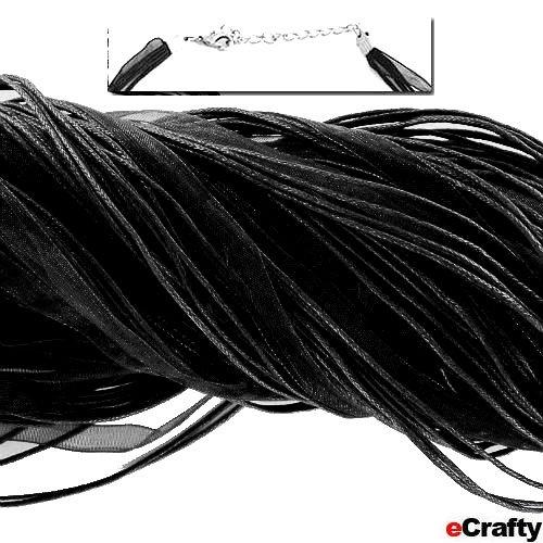 "Neck Cord 3-Strand Organza W/Clasp 18"" Black 10 Pack"