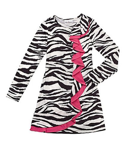 Girls Rare Editions LS Zebra Fuzzy Sweater Dress