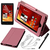 Skque®Pink Leather Case Cover W/stand + Clear Screen Protector + White Earphone w/mic + Stylus Pen for Acer ICONIA TAB A100 7 inch Tablet