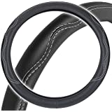 BDK BPA Free ODORLESS Leather Steering Wheel Cover Black - Fit All Standard Size, Non-Toxic