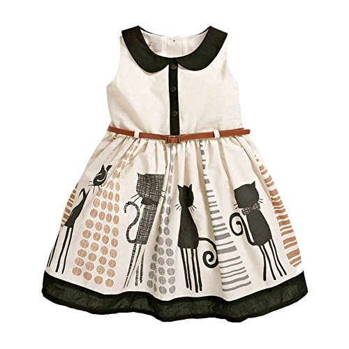 PanDaDa Kid Girl's Cotton Cat Print Sleeveless Tutu Dress