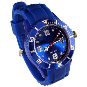 Montres couleurs tendances - Modèle Enfant - 12 Couleurs - Cadran 3,2 cm - Pochette cadeau LovaLuna offerte - Par LovaLunaTM - Bleu nuit