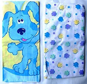 Blues Clues Kids Bed Toddler Fitted Sheet and Pillow Case Set