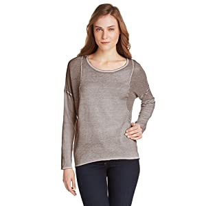 Democracy Women's Long Sleeve Top with Perforated Contrast, Pebble, Medium