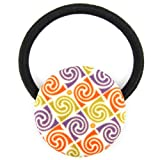 Purple Orange Mustard Spiral Square Printed Silk Screen Woven Fabric Covered Button Hair Elastic