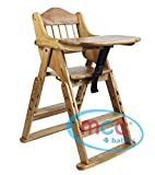 MCC Height Adjustable Wood Folding Highchair High Chair With Food Tray Assembled