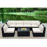 Genuine Ohana Outdoor Patio Wicker Furniture 7pc Sofa Set (beige)