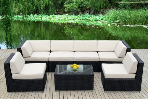 Genuine Ohana Outdoor Patio Sofa Sectional Wicker Furniture 7pc Couch Set