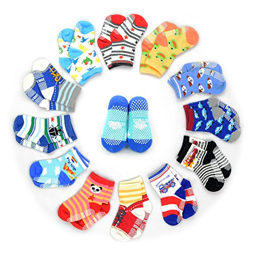 HOVEOX 12 Pairs Kids Baby Toddler Socks Non-skid Crew Walkers Unisex