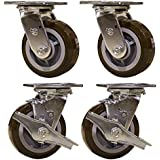 "5"" Heavy Duty Swivel Casters - 2 with Brakes Polyurethane Wheel Set of 4"
