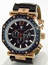 Aqua Master Round 49mm 24 Diamonds Watch Rose Gold w/ Black Face