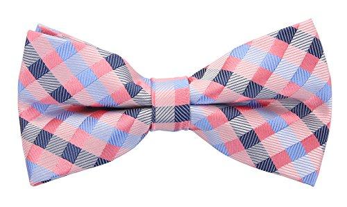 Scott Allan Men'S Silk Checkered Bow Tie - Pink/Blue