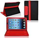 Ionic 2-Tone Designer Leather Case Cover with stand for New Apple iPad Mini / Apple iPad Mini 2 Tablet 4G LTE (Black/ Red)