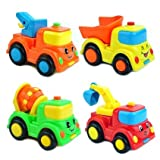 Engineering Vehicle, Super Toy For Kid, Set Of 4, (3.5*2.7*2.3 L*w*h In),inertial Power Toy Car,smil