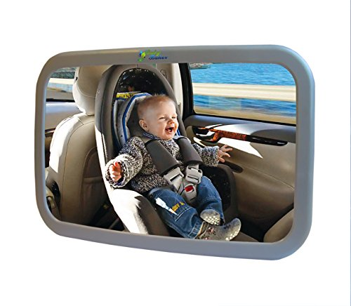 Baby Back Seat Mirror - Rear View Safety Mirror by BabyBahor - Safer & Stressless Driving - Comfortably Watch Your Little Angel In-Car with this Adjustable Convex Mirror - Stylish Wide Angle Convex & 360° Adjustable Design allows Full Sight of Rear Facing Infant Car Seat - Lightweight with Best Quality Shatterproof Glass & ABS Plastic - Secure Your Safety Today- 100% Satisfaction Guarantee! - 1