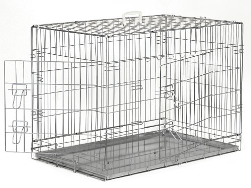 "Smithbuilt - Premium Folding Silver Dog Crate W/ Divider & Metal Tray Pan - Double Door - 42"" Length"