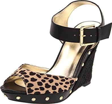 Guess Women's Tabari Wedge Sandal,Leopard,6 M US