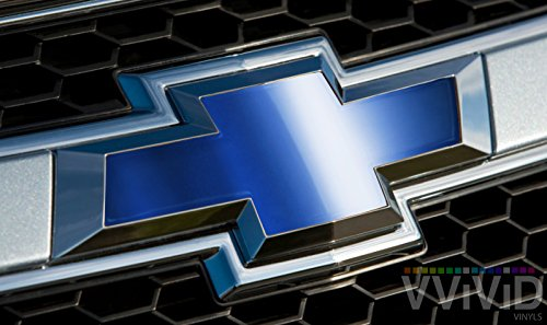 VVIVID Blue Chrome Auto Emblem Vinyl Wrap Overlay Cut-Your-Own Decal for Chevy Bowtie Grill, Rear Logo DIY Easy to Install 11.80