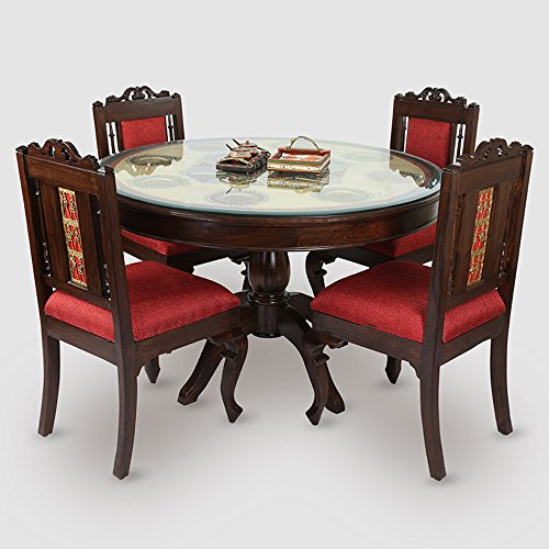 ExclusiveLane Teak Wood 4 Seater Round Dining Table In Warli & Dhokra Work