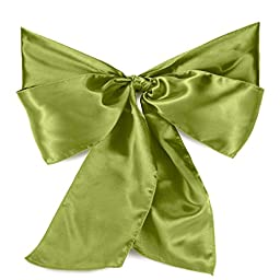 PONATIA 50Pcs Satin Chair Cover Bow Sashes - for Wedding or Party Use (Willow Green)