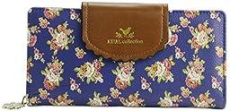 ETIAL Women\'s Vintage Floral Zip Wallet Faux Leather Card Holder Royal blue