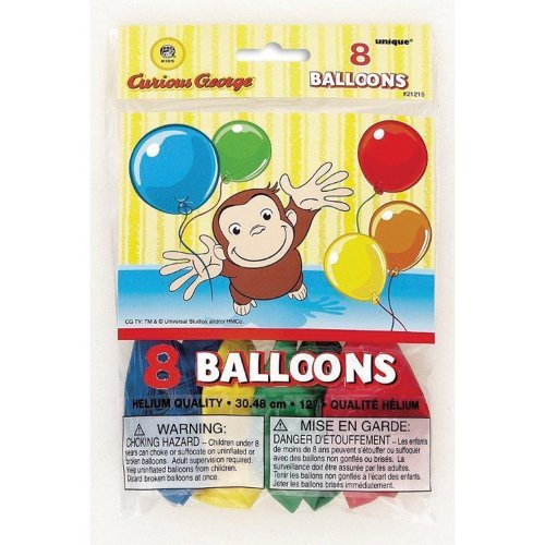 Curious George Printed Balloons - Birthday and Theme Party Supplies - 8 Per Pack - 1