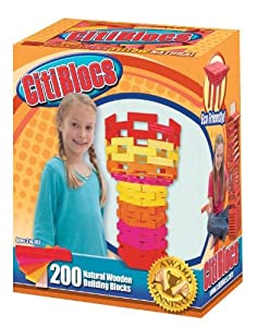 CitiBlocs - Hot Colors Precision Cut Building Blocks with 200-Pieces in Skyline Box, 0BCTBSW200