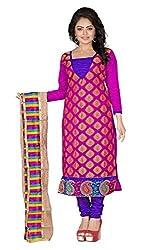 JHEENU Rani Women's Banarsi Jequard unstitched Straight Salwar Suit dress mat...