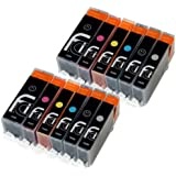 12x Canon PGI-550 XL / CLI-551 XL FCI Compatible Printer Ink Cartridges to replace (Contains: 2x 550BK Large Black, 2x 551C Cyan, 2x 551M Magenta, 2x 551Y Yellow, 2x 551BK Small Black, 2x 551 Grey) for Canon Pixma MG6350, MG7150, MG7550, ip8750 printers, Double Capacity Inks cartridge