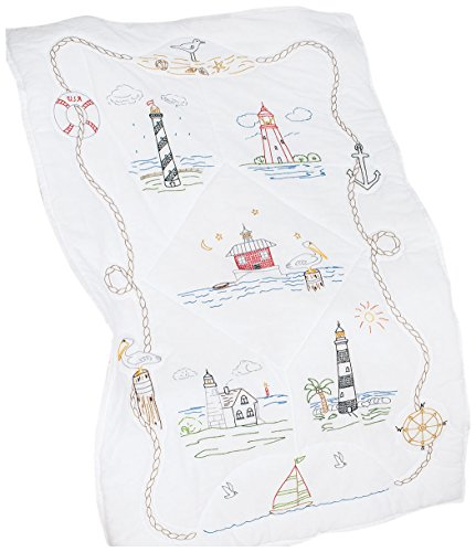 Jack Dempsey Stamped White Lap Quilt Top, 40 by 60-Inch, Lighthouses (Lighthouse Quilt compare prices)
