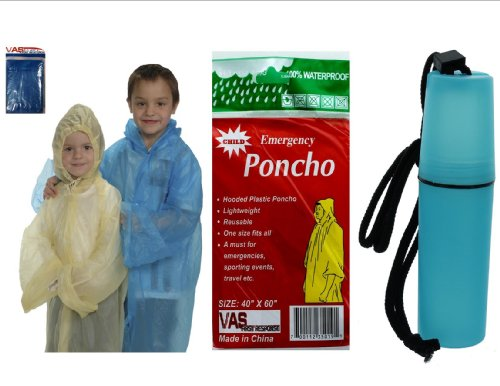 VAS-Childrens-40-X-60-Emergency-Child-Kid-Rain-Poncho-BLUE-W-BONUS-MINI-TOTE-5-TO-CHOOSE-FROM
