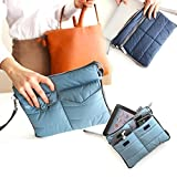 Museya Multi-functional Nylon Zippered Gadget Pouch Bag in Bag Handbag Travel Storage Bag Organizer for iPad Tablets (Blue)