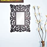 Wall Hanging Mirror Frame In Black Color By Furniselan