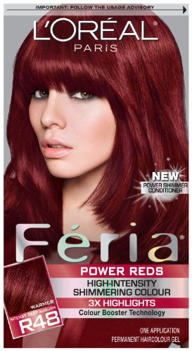 ... Oreal Feria Power Reds Hair Color, R48 Intense Deep Auburn/Red Velvet