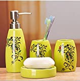 European-style Elegant 4 Piece Bath Ensemble with Decorative Pattern ,Ceramic Bathroom Accessory Set with Soap Dish, Lotion Dispenser, Toothbrush Holder & Tumbler (Yellow)