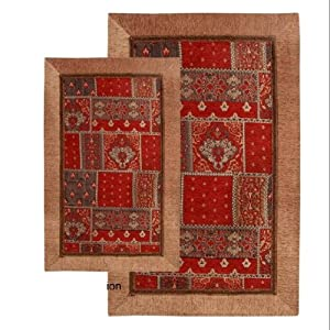 red geometric bath mat set bath rugs. Black Bedroom Furniture Sets. Home Design Ideas