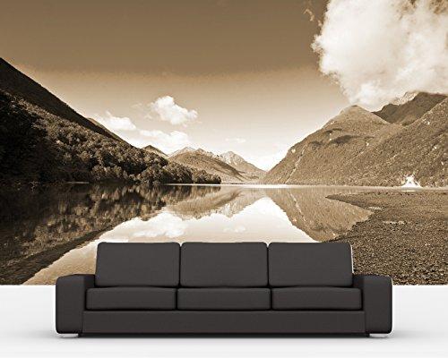 bilderdepot24-fotomurale-autoadesivo-lake-gunn-nuova-zelanda-sephia-300x200-cm-direttamente-dal-prod