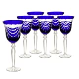 Hand Cut Crystal Colbalt Blue Wine Goblets, Set of 6