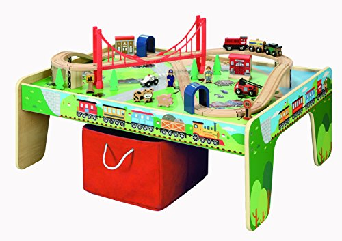 50 piece Train Set with Train / Play Table - BRIO and Thomas & Friends Compatible (Wooden Train Set Table compare prices)