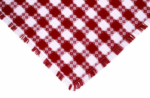62 x 90 (Oval) Tavern Check Tablecloth, Hand Loomed Cotton, Made in USA, Red