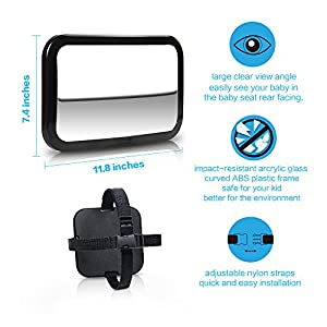 Innoo Tech Baby Car Mirror - Baby Back Seat Mirror - Wide Clear View Angle - Easily See Your Kid in Rear Facing - Shatterproof Tested - Baby In Car Sign and Cleaning Cloth Included - Lifetime Warranty
