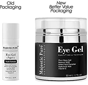 Eye Gel From Majestic Pure Offers Potent Anti Aging & Skin Firming Gel Cream For Dark Circle Eyes, Wrinkles, Eye Puffiness & Loss of Tone and Resilience, Try Risk Free Today! 1.7 fl. oz.