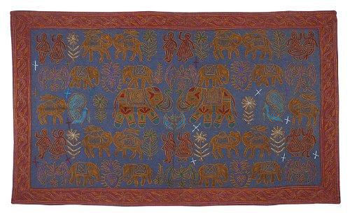 Imagen 2 de Algodón tapiz Tapiz Adorna con bordado tradicional Tamaño 58 x 33 pulgadas