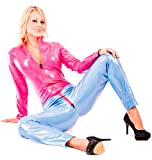 EYECATCHER !! Catsuit size S M L XL XXL (8 10 12 14 16) blue / pink leather optics (900122 size L)