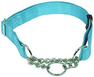 Country Brook Design Half Check Nylon Dog Collars-Ocean Blue-L