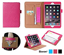 iPad Pro Case, Bovon® Folio Premium PU Leather Stand Case Cover with Auto Wake & Sleep Feature, Elastic Strap, Card Slots, Note Holder for Apple iPad Pro (2015 Release) (Pink)