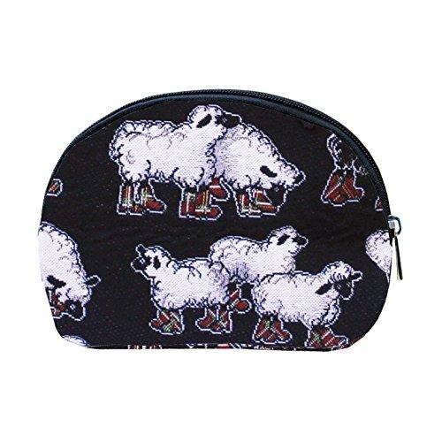 Borsa donna di Signare per il trucco in tessuto stile arazzo alla moda Pecore Nero